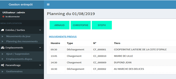 Application Wavesoft - planning et gestion d'entrepôt